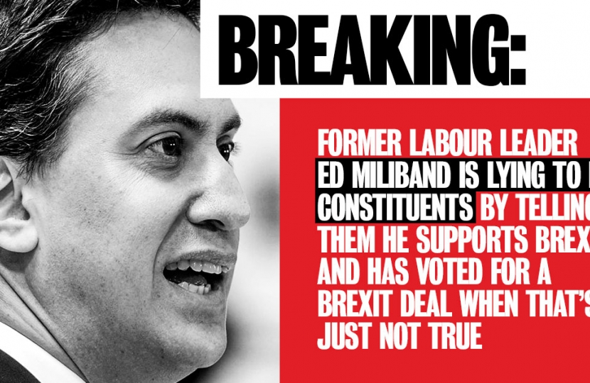 Ed Miliband falsely claiming to back Brexit to his leave voting constituents